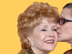 Kissing Cousins: The author's cousin, actresses Debbie Reynolds (L), recipient of the Screen Actors Guild Life Achievement Award, and Carrie Fisher at the 21st Annual Screen Actors Guild Awards at The Shrine Auditorium on January 25, 2015.