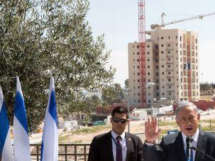 Annexed East Jerusalem: Israeli Prime Minister, Benjamin Netanyahu talks to the press during his visit to Har Homa, an Israeli settlement neighborhood of annexed east Jerusalem, in March 2015.