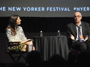 Ariel Levy and Jeffrey Tambor on stage at the New Yorker Festival.