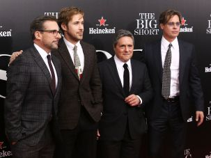 Mr Big, Shorted: Brad Grey (third from left), with Steve Carell, Ryan Gosling and Brad Pitt, is reportedly to leave Paramount Pictures.