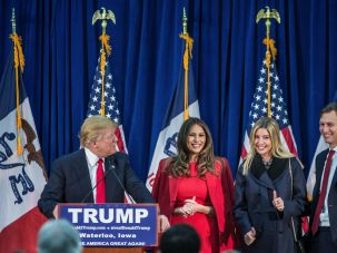 At His Side: Jared Kushner rallies for Donald Trump in Iowa.