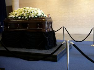 Paying His Respects: House Speaker Paul Ryan stands near the casket of Nancy Reagan at the Ronald Reagan Presidential Library on March 9, 2016 in Simi Valley, California.