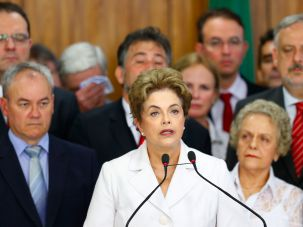 Dilma Rousseff speaks to supporters at the Planalto presidential palace on May 12, 2016 in Brasilia, Brazil.