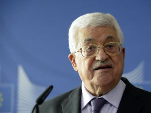 Mahmoud Abbas addresses the media after a meeting with the European Union High Representative for Foreign Affairs and Security Policy at the European Union Commission headquarters in Brussels on June 22, 2016.