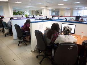 Haredi women working in a tech firm in Holon, Israel.