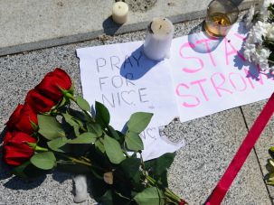 Notes and flowers for the victims of the Nice terrorist attack outside the French embassy in Moscow July 15, 2016,