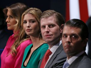 Melania Trump and three of Trump's children sit in the family box during the second presidential debate.