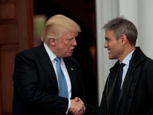 Donald Trump during a meeting with his former agent, Ari Emanuel.