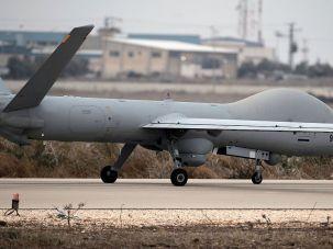 An Israeli Hermes 900 unmanned plane gets ready to fly near Israeli-Syrian border, on November 29, 2016 in the Israeli-annexed Golan Heights.