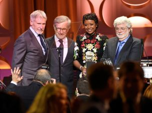 2016 Honorees: From left, Harrison Ford and Steven Spielberg stand with honorees Mellody Hobson and George Lucas.