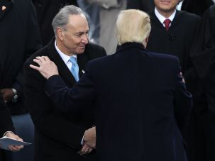 Sen. Chuck Schemer and President Donald Trump during the inauguration.