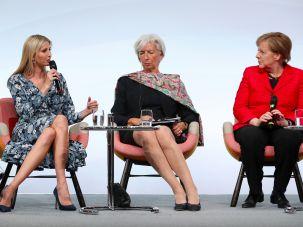 Ivanka Trump with IMF Managing Director Christine Lagarde and German Chancellor Angela Merkel.