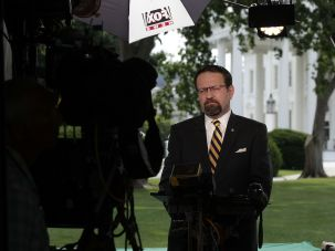 Sebastian Gorka being interviewed for Fox News in June.