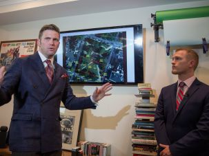 Identity Evropa leader Nathan Damigo, at right, with fellow white nationalist Richard Spencer.