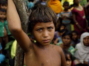 A Rohingya girl at a refugee camp in Bangladesh.
