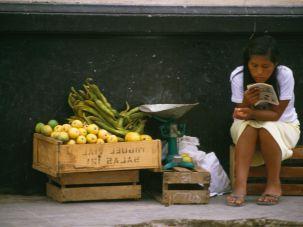 Girl reading in Peru, 1984.
