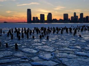 Frozen Over: Ice floes fill the Hudson River in early January during an extreme cold spell that fell over most of the country.
