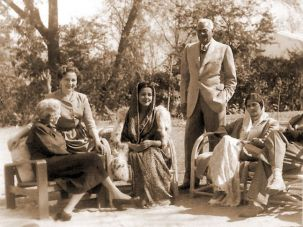 Hermine Speck (later known as Mady Martyn), second from left, with her mother, Helene Speck, far left; and her first husband, Sardar Bahadur Uttam Singh (standing), during an afternoon tea with Princess Sita of Kapurthala (third from left).