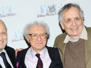 "Charles Strouse, Sheldon Harnick and Sherman Yellen appear on opening night of ""A World To Win"" in New York City on January 17, 2014."