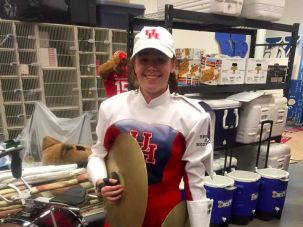 Go Cougars!  19-year old Hayley Snider in her marching band gear.