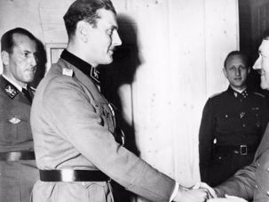 Otto Skorzeny, L, with Adolf Hitler. and R, in later years.