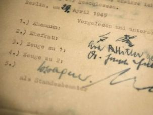 I do: The signatures of Adolf Hitler (top) and Eva Braun (second top), on their marriage certificate dated April 29, 1945.
