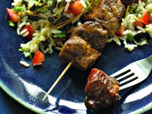 Honey-Glazed skewered beef.