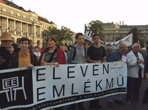 Members of Eleven Emlékmű, a group formed to counter misrepresentation Hungary's role in the Holocaust, rally in Budapest to support refugees' rights last September.