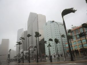 The wind blows and rain falls on Miami during Hurricane Irma.