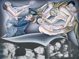 One panel of ?Double Jeopardy? in Chicago?s Holocaust Project, ?Liberation,? represents the rape of women during the Holocaust, using Rubens?s famous ?Rape of the Sabine Women? as a framework.