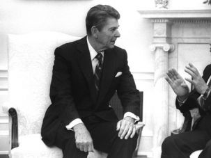 Friends in Deed: President Ronald Reagan meets with Israeli Prime Minister Menachem Begin.