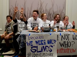 "Anti-occupation group IfNotNow conduct a ""liberation Passover seder."""