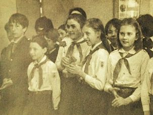 Moscow Memories: Margarita Gokun Silver (second from right) at a Pioneers' assembly, ca. 1981.