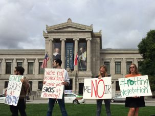 Artistic Outrage: Protesters demonstrate against Renoir at Boston's Museum of Fine Arts in October.