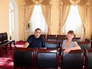 Relocated: Yakov Matayev, a Bukharan Jew, an Zheniya Robieyeva, a Jew of Russian descent, sit in the house that now serves as a synagogue for Dushanbe's shrinking Jewish community.