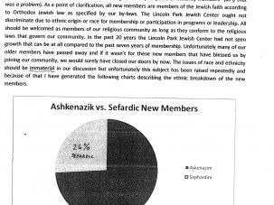 """A report that Rabbi Vinas gave to the board in 2010, in which he responded to questions about the """"ethnicity/race of the New Members."""""""