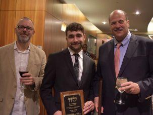 Art Director Kurt Hoffman, Forverts reporter Jordan Kutzik and writer Allan Jalon (left to right)