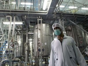 An Iranian technician works at the Isfahan Uranium Conversion Facilities.