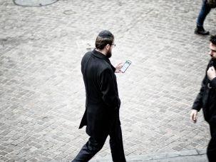 Hasidic man on Wall Street in downtown Manhattan.