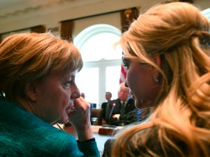 Ivanka Trump, role unspecified, sharing a moment with German Chancellor Angela Merkel.