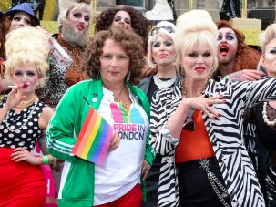 Jennifer Saunders and Joanna Lumley, in character and with impersonators, at 2016 London Pride