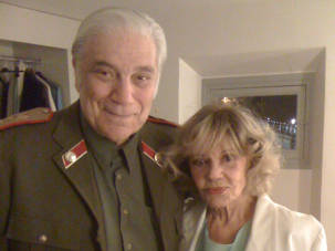 """Jerry the Star:Koenig backstage with co-star Jeanne Moreau at a performance in Paris, 2009, for a performance of Amos Gitai's """"The War of the Sons of light Against the Sons of Darkness"""""""