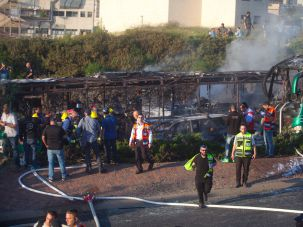Israeli emergency personnel at the scene of a bus bombing on April 18, 2016 in Jerusalem.
