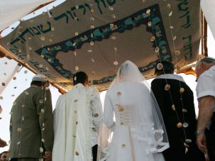 A Jewish wedding ceremony.