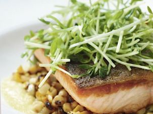 Elegant Fare: A perfectly seared piece of Arctic char sits atop corn and fava beans in a dish that?s far from expected at a kosher restaurant.