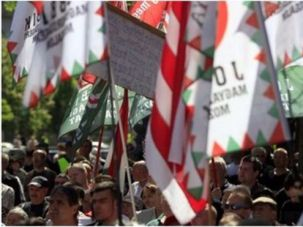 Demonstrators protest the World Jewish Congress at a Jobbik rally in 2013.