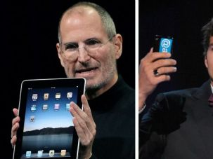 The Apple of Temptation: Steve Jobs, portrayed on screen by Ashton Kutcher (right) had a man-crush on Bob Dylan, among other seemingly Jewish fascinations.