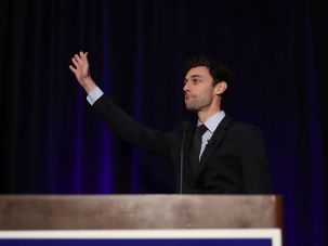 Democratic candidate Jon Ossoff speaks to his supporters in Georgia's 6th Congressional District as votes continue to be counted.