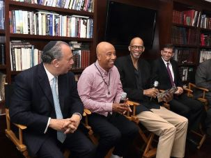 From left, Rabbi Marc Schneier and Russell Simmons of the Foundation for Ethnic Understanding; NBA Hall of Famer Kareem Abdul-Jabbar; Consul General Sam Grundwerg, and Muslim community activist Mahomed Akbar Khan marking the holy month of Ramadan at the Israeli Consulate in Los Angeles, June 15, 2017.