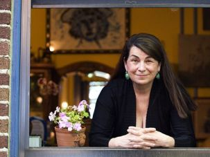 A Fresh View: Aviva Kempner in the window of her Washington home. Kempner?s films tell the stories of unknown Jewish heroes.